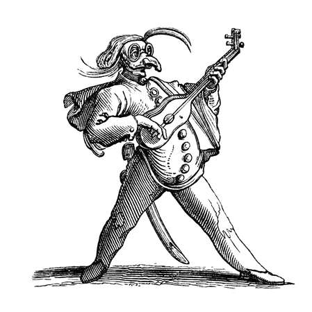 bard: 19th century engraving of a vagabond minstrel, Naples, Italy, photographed from a book  titled