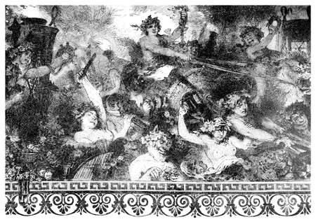Victorian engraving of a  wall painting of a bacchanalian feast. Digitally restored image from a mid-19th century Encyclopaedia.