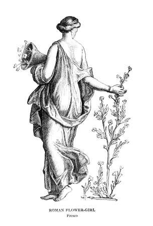 pompeii: Victorian engraving of a fresco of a Roman flower girl. Digitally restored image from a mid-19th century Encyclopaedia.