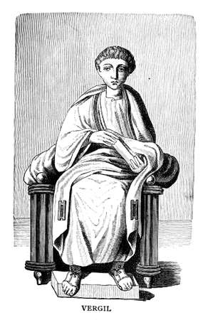 Victorian engraving of a depiction of Vergil. Digitally restored image from a mid-19th century Encyclopaedia.