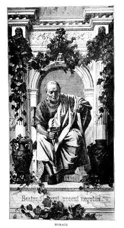 Victorian engraving of a depiction of Horace. Digitally restored image from a mid-19th century Encyclopaedia.