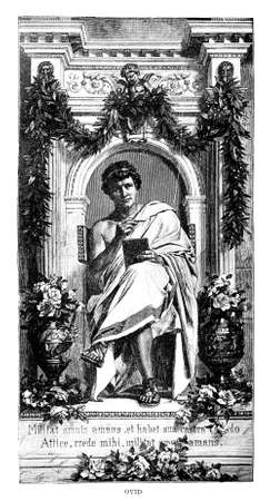 Victorian engraving of a depiction of Ovid. Digitally restored image from a mid-19th century Encyclopaedia. Banco de Imagens
