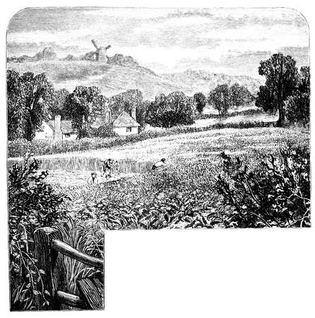 english countryside: 19th century engraving of the English countryside Stock Photo