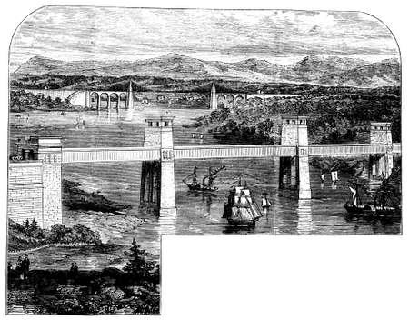 wales: 19th century engraving of Menai Bridge, Wales, UK