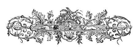 19th century engraving of  an ornate book decoration, photographed from a book  titled Stock Photo