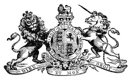 영국의 팔의 로얄 코트의 19 세기 engrving. 디지털 19 세기 중반의 백과 사전에서 복원.