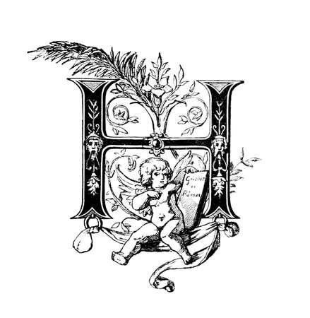 neocl�sico: Dise�o neocl�sico Rom�nico que representa la letra H. restaurada digitalmente de una enciclopedia de mediados del siglo 19 de la antigua Grecia y Roma.