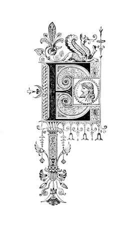 로마네스크 문자 e를 묘사 한 신고전주의 풍 디자인. 고대 그리스와 로마의 19 세기 중반 백과 사전에서 디지털 복원.