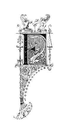neocl�sico: Dise�o neocl�sico Rom�nico que representa la letra F. restaurada digitalmente de una enciclopedia de mediados del siglo 19 de la antigua Grecia y Roma. Foto de archivo