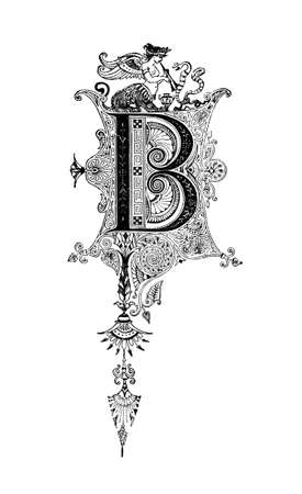 Romanesque Neoclassical design depicting the letter B. Digitally restored from a mid-19th century encyclopaedia of Ancient Greece and Rome.