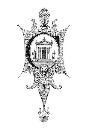 C.는 디지털 고대 그리스와 로마의 19 세기 중반의 백과 사전에서 복원 편지를 묘사 로마네스크 신고전주의 디자인. 스톡 콘텐츠