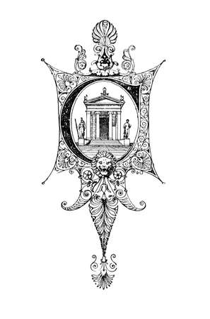 neoclassical: Romanesque Neoclassical design depicting the letter C. Digitally restored from a mid-19th century encyclopaedia of Ancient Greece and Rome. Stock Photo