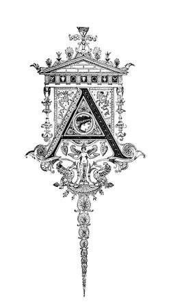 neocl�sico: Dise�o neocl�sico Rom�nico que representa la letra A. restaurada digitalmente de una enciclopedia de mediados del siglo 19 de la antigua Grecia y Roma.