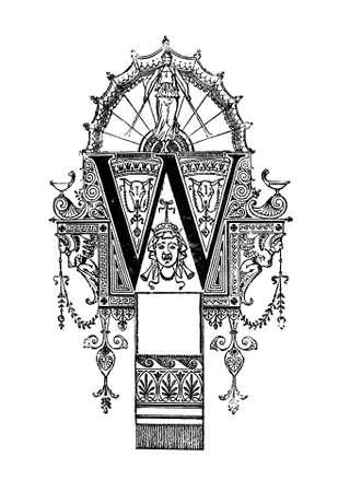 Romanesque 신고 글자 W를 묘사 한 신고전주의 풍 디자인. 19 세기 중반 고대 그리스 및 로마 백과 사전에서 디지털 복원 됨.