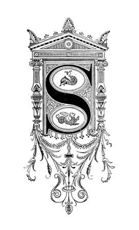 Romanesque Neoclassical design depicting the letter S. Digitally restored from a mid-19th century encyclopaedia of Ancient Greece and Rome.