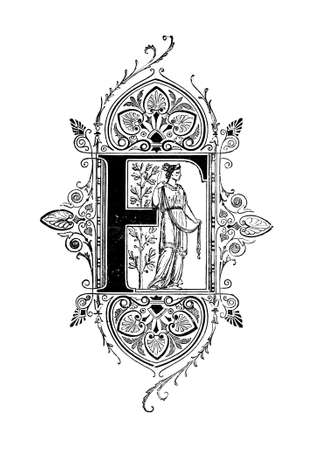 Romanesque Neoclassical design depicting the letter F. Digitally restored from a mid-19th century encyclopaedia of Ancient Greece and Rome.
