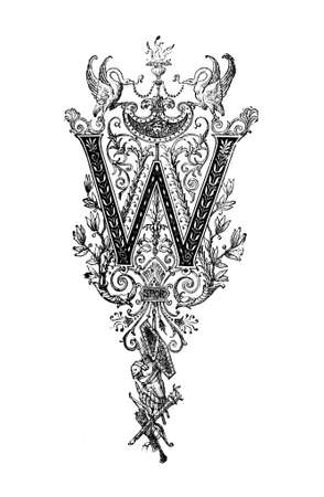 neoclassical: Romanesque Neoclassical design depicting the letter W. Digitally restored from a mid-19th century encyclopaedia of Ancient Greece and Rome. Stock Photo