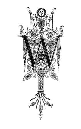 Romanesque Neoclassical design depicting the letter W. Digitally restored from a mid-19th century encyclopaedia of Ancient Greece and Rome. Reklamní fotografie