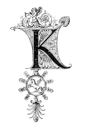 Romanesque Neoclassical design depicting the letter K. Digitally restored from a mid-19th century encyclopaedia of Ancient Greece and Rome.