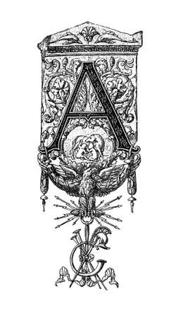 neoclassical: Romanesque Neoclassical design depicting the letter A. Digitally restored from a mid-19th century encyclopaedia of Ancient Greece and Rome.
