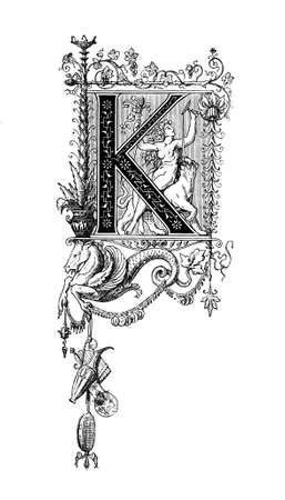 neoclassical: Romanesque Neoclassical design depicting the letter K. Digitally restored from a mid-19th century encyclopaedia of Ancient Greece and Rome.