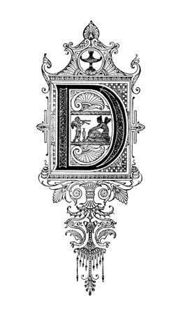 design: Romanesque Neoclassical design depicting the letter D. Digitally restored from a mid-19th century encyclopaedia of Ancient Greece and Rome.