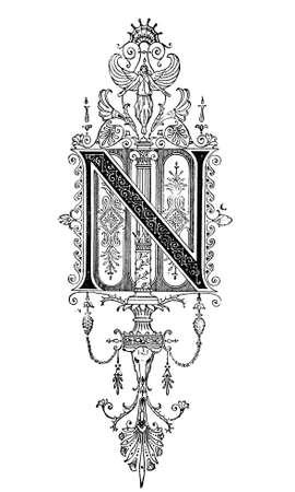 문자 N.을 묘사 한 로마네스크 양식의 신고전주의 디자인은 디지털 고대 그리스와 로마의 19 세기 중반의 백과 사전에서 복원. 스톡 콘텐츠