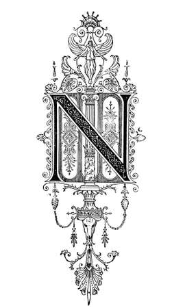 alphabet greek: Romanesque Neoclassical design depicting the letter N. Digitally restored from a mid-19th century encyclopaedia of Ancient Greece and Rome.