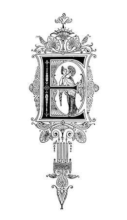 neocl�sico: Dise�o neocl�sico Rom�nico que representa la letra E. restaurada digitalmente de una enciclopedia de mediados del siglo 19 de la antigua Grecia y Roma.