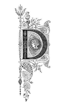 Romaanse neoklassieke ontwerp beeltenis van de letter D. Digitaal hersteld van een mid-19e-eeuwse encyclopedie van het oude Griekenland en Rome.