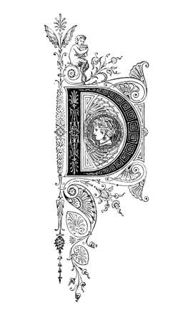 Romanesque Neoclassical design depicting the letter D. Digitally restored from a mid-19th century encyclopaedia of Ancient Greece and Rome.