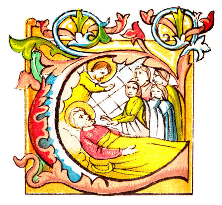 Grabado del siglo 19 de un manuscrito iluminado Foto de archivo - 42494592