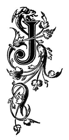 restored: Victorian elegant design vine pattern letter J.  Digitally restored from a mid-19th century encyclopaedia.
