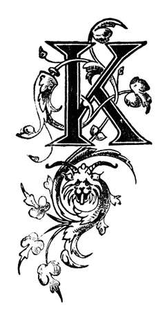 restored: Victorian elegant design vine pattern letter K.  Digitally restored from a mid-19th century encyclopaedia.