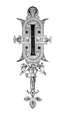 Romanesque Neoclassical design depicting the letter I. Digitally restored from a mid-19th century encyclopaedia of Ancient Greece and Rome.