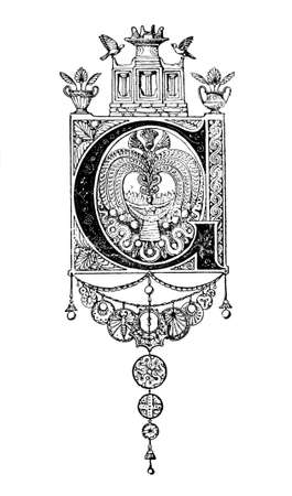 greco: Romanesque Neoclassical design depicting the letter G. Digitally restored from a mid-19th century encyclopaedia of Ancient Greece and Rome.