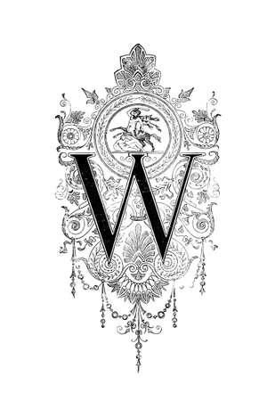 neocl�sico: Dise�o neocl�sico Rom�nico que representa la letra W. restaurada digitalmente de una enciclopedia de mediados del siglo 19 de la antigua Grecia y Roma. Foto de archivo
