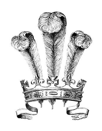 plumes: 19th century engraving of a crown with plumes