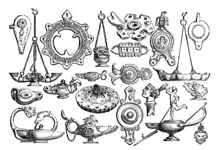 opulent: 19th century engraving of ancient Roman lamps, Pompeii, Italy, photographed from a book  titled