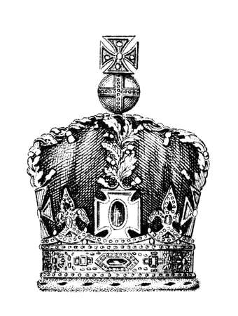 century: 19th century engraving of the Queens crown