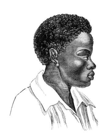 esclavo: Grabado victoriana de un esclavo africano. Foto de archivo