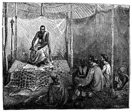 visitors: Victorian engraving of an indigenous African chief accepting visitors