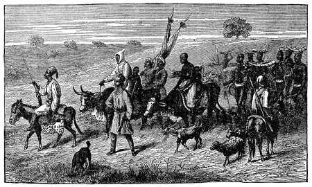 villagers: Victorian engraving of indigenous African villagers