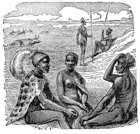 anthropology: Victorian engraving of indigenous African people