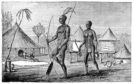 warriors: Victorian engraving of an indigenous African warrior and wife