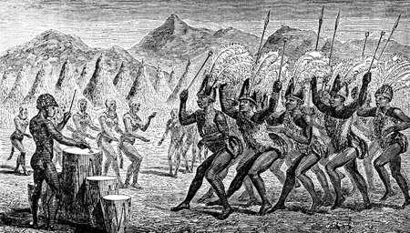 warriors: Victorian engraving of indigenous African warriors dancing