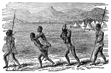 anthropology: Victorian engraving of ian indigenous African family Stock Photo