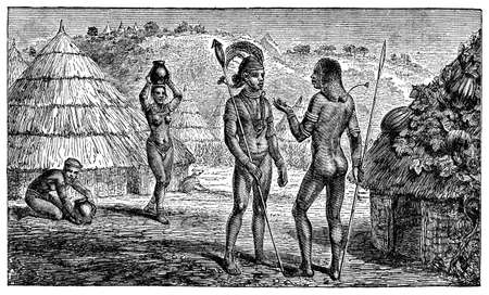 anthropology: Victorian engraving of indigenous African villagers