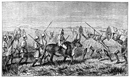 anthropology: Victorian engraving of a meeting of tribesman and a colonial explorer