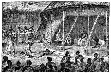Victoriaanse graveren van een publiek met een Afrikaans chief